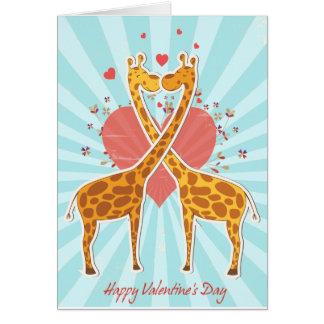 giraffes valentines day card
