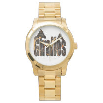 Giraffes With Giraffe Pattern Logo, Large Unisex Wrist Watch