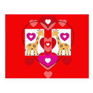 Giraffes with hearts. postcard