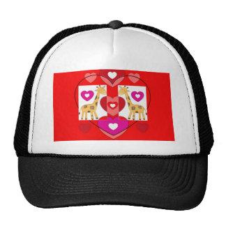 Giraffes with hearts. trucker hat
