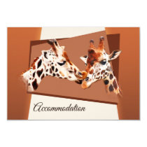 Giraffes Zoo Wedding Insert or Accommodation Card