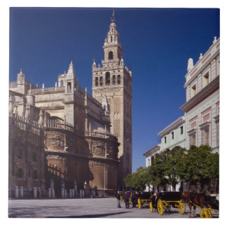 Giralda bell tower and cathedral, Madrid, Spain Ceramic Tile