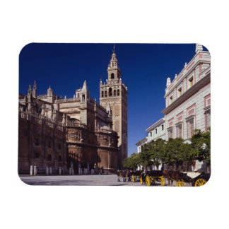 Giralda bell tower and cathedral, Madrid, Spain Rectangular Magnet