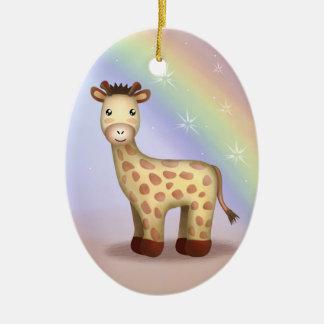 Giraldo the Giraffe - Ornamnet Double-Sided Oval Ceramic Christmas Ornament