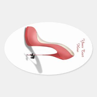 Girant Red Stiletto - Heel Dancer Oval Sticker