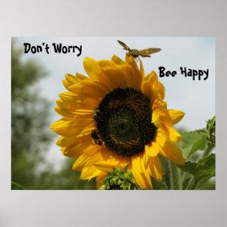 Girasol - abeja - foto de la mariposa póster