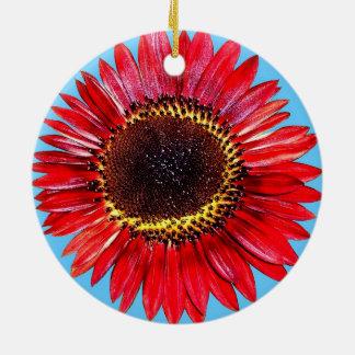 Girasol abstracto bonito de la belleza del otoño adorno navideño redondo de cerámica