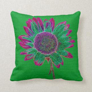Girasol abstracto en verde del vintage almohadas