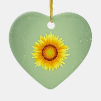 Girasol amarillo brillante retro/verde menta del adorno de cerámica en forma de corazón