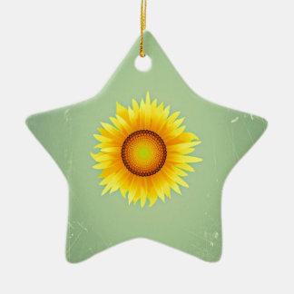 Girasol amarillo brillante retro/verde menta del adorno de cerámica en forma de estrella