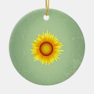 Girasol amarillo brillante retro/verde menta del adorno redondo de cerámica
