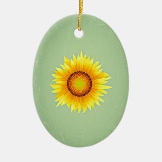 Girasol amarillo brillante retro/verde menta del adorno ovalado de cerámica
