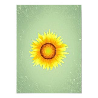Girasol amarillo brillante retro/verde menta del comunicado