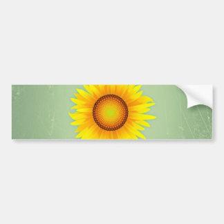 Girasol amarillo brillante retro/verde menta del v etiqueta de parachoque