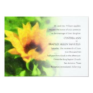 Girasol amarillo de la invitación 5x7