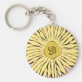 Girasol amarillo del extracto del vintage llavero personalizado