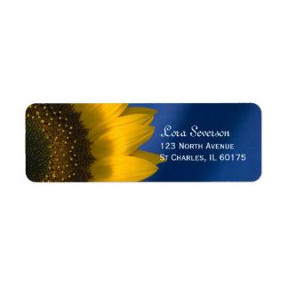 Girasol amarillo en azul etiqueta de remite