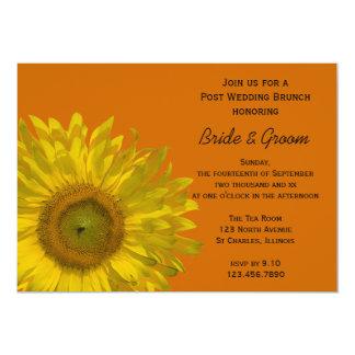 """Girasol amarillo en brunch anaranjado del boda del invitación 5"""" x 7"""""""