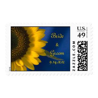Girasol amarillo en el boda azul timbres postales
