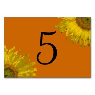 Girasol amarillo en números anaranjados de la