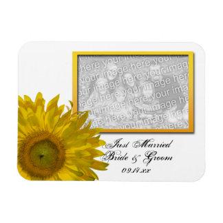 Girasol amarillo que casa apenas la foto casada iman de vinilo