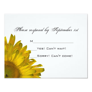 Girasol amarillo que casa la tarjeta de la invitación 10,8 x 13,9 cm