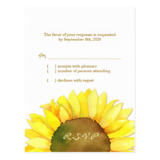 Girasol amarillo y blanco que casa RSVP (4.25x5.6) Postal