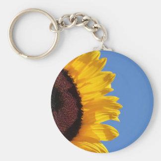 Girasol amarillo y cielo azul llavero redondo tipo pin