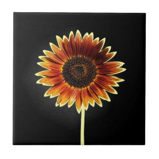 Girasol artsy del otoño en negro tejas  cerámicas