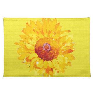 Girasol artsy en amarillo manteles individuales