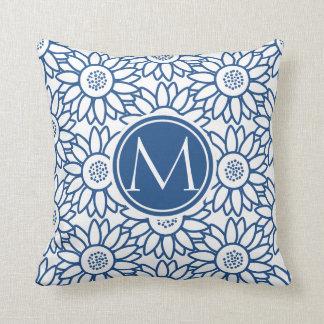 Girasol azul clásico del monograma elegante cojín