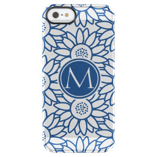 Girasol azul clásico del monograma elegante funda clearly™ deflector para iPhone 5 de uncommon