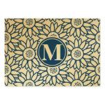 Girasol azul clásico del monograma tarjetas de visita grandes