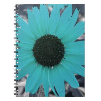 Girasol azul del jardín libro de apuntes con espiral