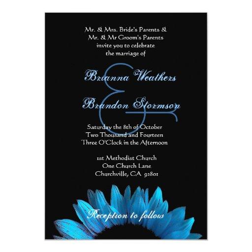 """Girasol azul que casa Ver 003 Invitación 5"""" X 7"""""""