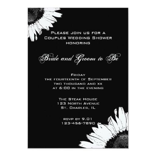 """Girasol blanco en los pares negros que casan la invitación 5"""" x 7"""""""