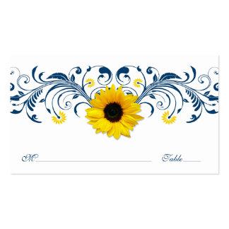Girasol blanco Placecard que se casa floral de los Tarjetas De Visita