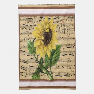 Girasol bonito en partitura del vintage toalla