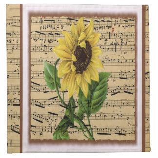 Girasol bonito en partitura del vintage servilletas