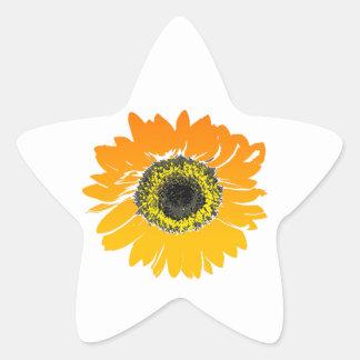 Girasol brillante pegatina en forma de estrella