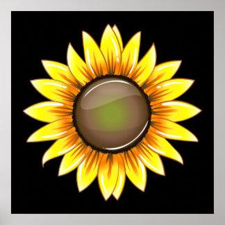Girasol brillante soleado póster