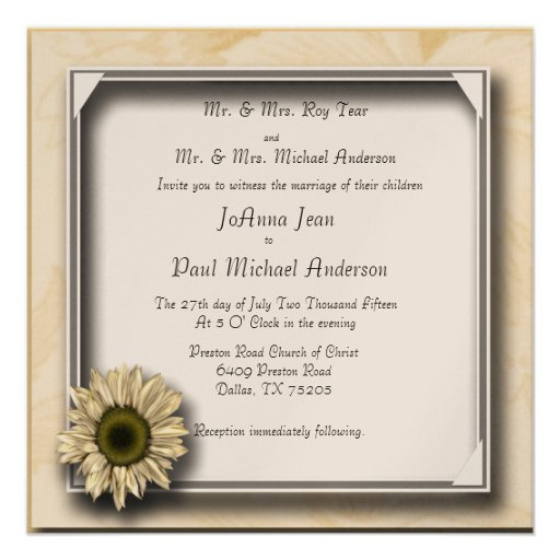Girasol capítulo casando invitaciones anuncios personalizados