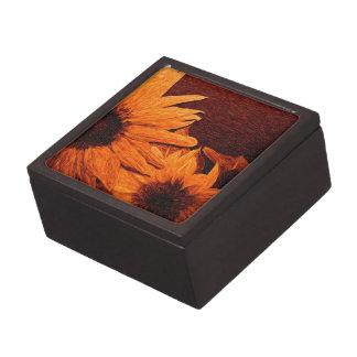 Girasol con la pintura al óleo roja del fondo cajas de regalo de calidad