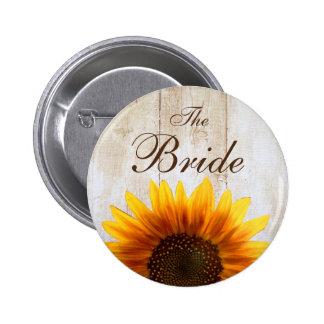 Girasol de encargo del país del botón del boda la pin redondo de 2 pulgadas