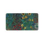 Girasol de Farmergarden, Klimt, flores del vintage Etiqueta De Dirección