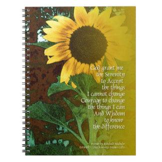 Girasol de julio del rezo de la serenidad spiral notebooks