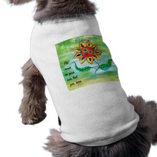 Girasol de la escritura de la camisa del mascota camisetas de perro