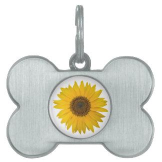 Girasol de la flor - flor amarillo abierto placa de nombre de mascota