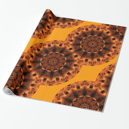 Girasol de la llama, flor anaranjada abstracta del papel de regalo