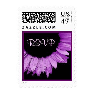 Girasol de la púrpura de RSVP del boda Sello